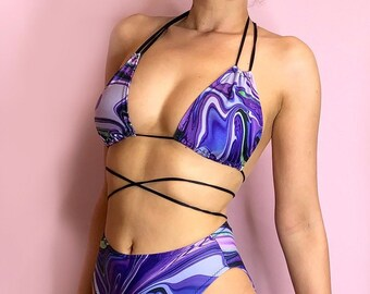 Purple Marble rave halter bralet bikini top