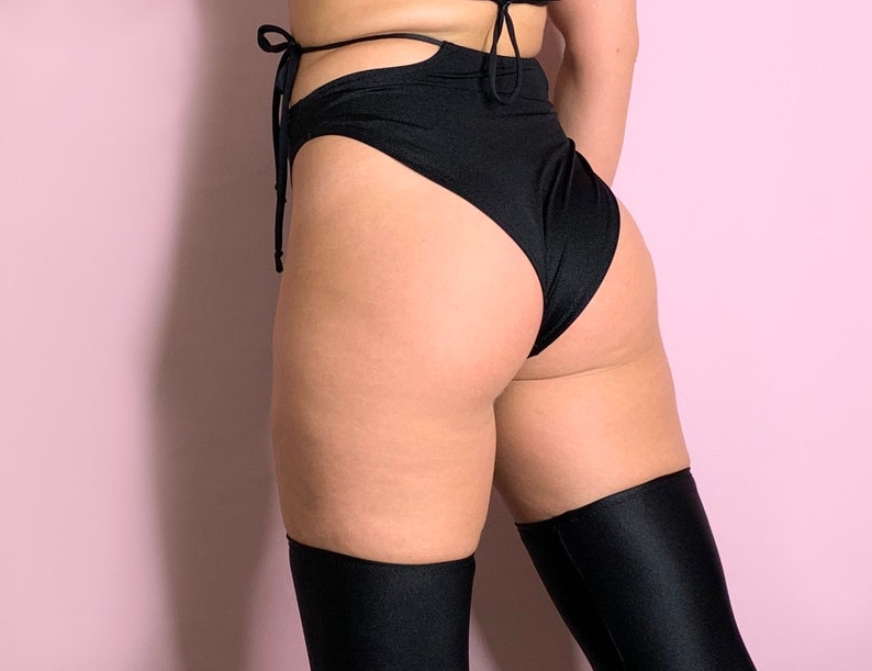 Black High Waisted High Leg Rave Side Tie Bottoms
