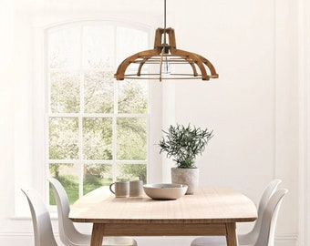 Farmhouse chandelier Wood pendant lamp Industrial kitchen island lighting Rustic wooden lampshade Ceiling light fixture ALREADY ASSEMBLED