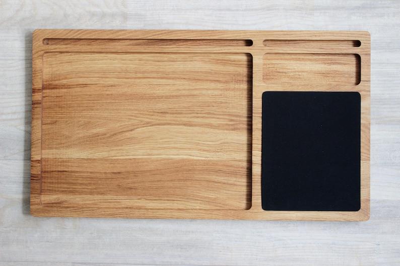 Tour de bureau ordinateur portable bois de chêne plateau avec etsy
