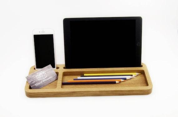 Organisateur de bureau en bois chêne bureau tablette bureau de etsy