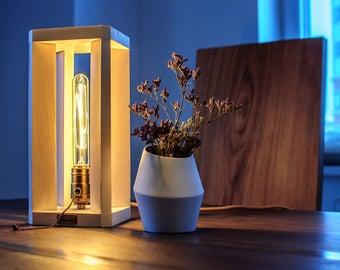 Wood light fixture Bedside table lamp Edison light Wooden lamp Nightstand lighting Rustic minimalist modern lamp design US_EU_UK_AU plug