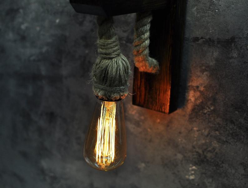 Plafoniere Con Base In Legno : Applique plafoniera legno con luce di corda illuminazione etsy
