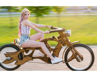 WB Pirate Old Bike - Luxury wood bicycle - Best gift for cyclists, bikers - Unique cycling gifts idea for him, her, boyfriend, men, women