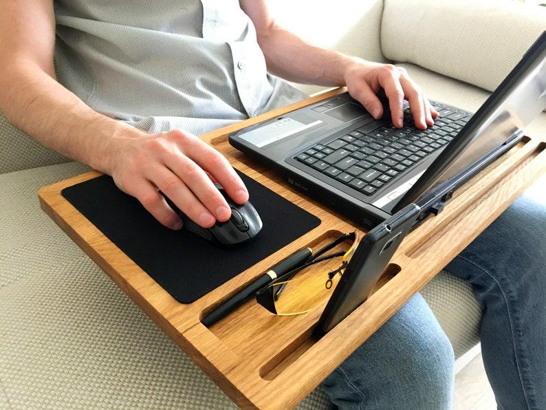 Lap desk Oak wood laptop stand Portable laptop desk with ...