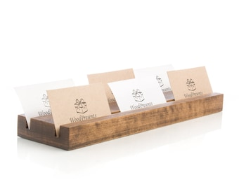 Multiple business card holder Personalized desk organizer Natural wood card display Office supplies Wooden card stand Desk accessories Gift