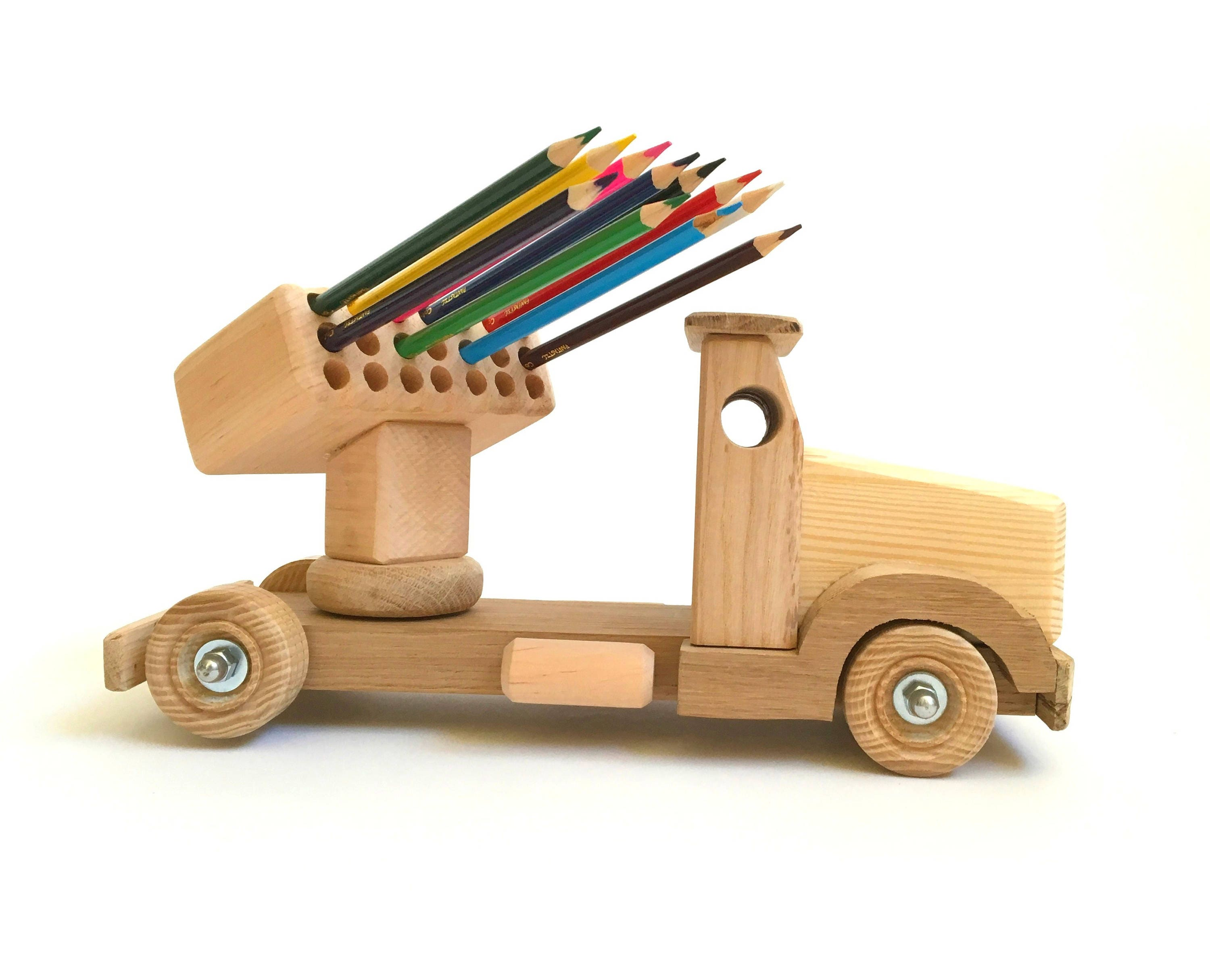 Wood toy for kids Pencil holder Wooden truck Learning toy ...