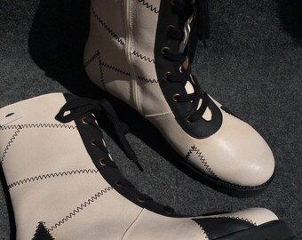 dfec9e005acb5 Retro Vintage Boots 20s Old-Fashioned Neosens Size 42 | Etsy
