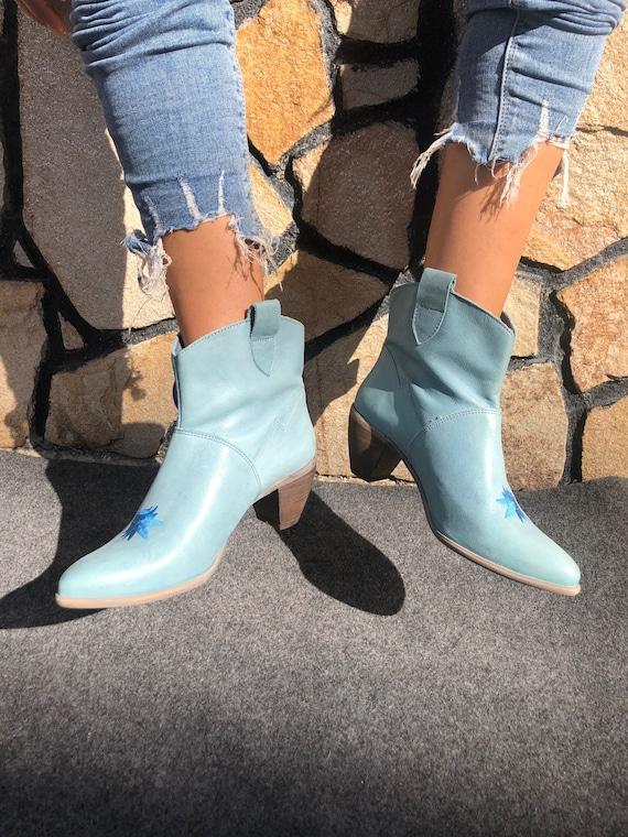 Felmini Cowboy Boots Embroidery Blue EU 38