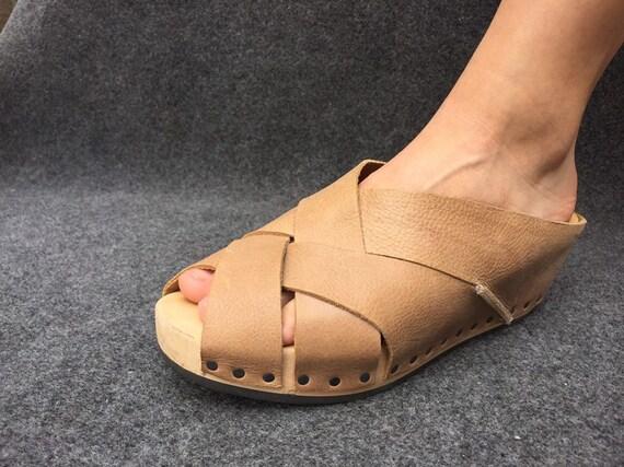 Trippen Sandals Beige Wooden Wedge EU 39