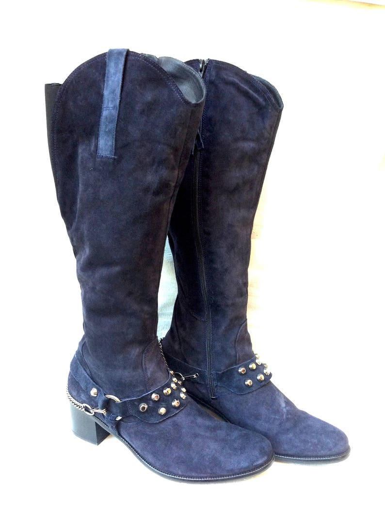 ee5bb6c8ad5b6 Knee high Boots Suede Pins and Chains Högl Size 41