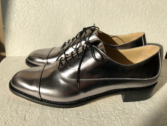 Hobbs Silver Patent Leather Oxford Shoes EU40
