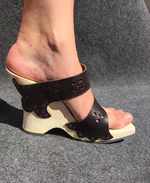 Trippen Wooden Sandals Brown EU 36