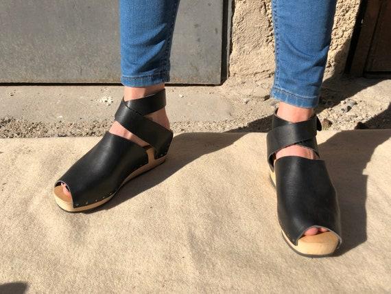 Trippen Peeptoe Sandals Leather Black EU 38