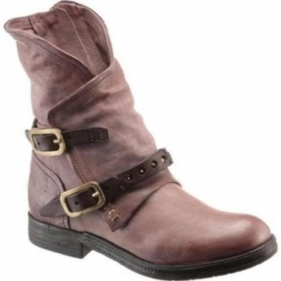 size 40 6c401 0271a AS98 Biker Boots Verti Leather Block Heel Straps EU Size 36