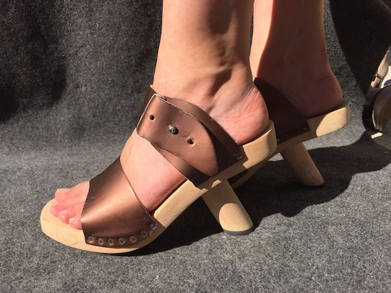 Trippen wooden sandals in Bronze EU 38