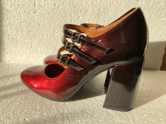 Other Stories Pumps Patent Leather Red/Black EU38