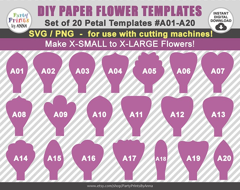 20 svg paper flower templates petal templates a01-a20diy | etsy