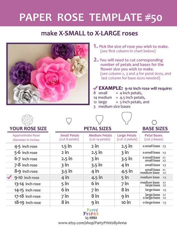 Paper Flower Template Svg And Printable Pdf Paper Rose Etsy