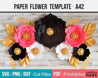 Paper Flower Template / DIY paper flower backdrop SVG template cut files & PDF printable paper flowers / Paper Flower Wall