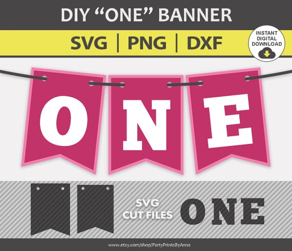 One High Chair Banner Svg Cut Files Baby 1st Birthday Banner Etsy