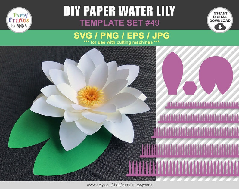 Svg Png Water Lily Template Diy Paper Water Lily Paper Water Lily Template Giant Paper Flowers Cricut Silhouette Diy Paper Flowers