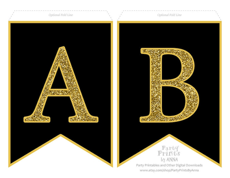 photograph relating to Printable Letter for Banners called Printable Alphabet Letter Banner - Gold Glitter upon Black, A-Z Letters Quantities, Bunting Swallowtail Banner, Gold and Black Letter Printable