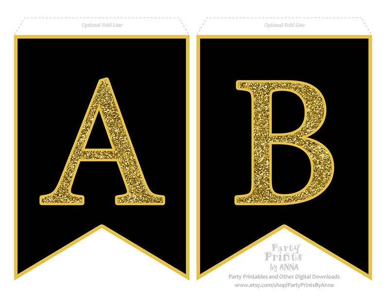picture about Printable Alphabet Banner titled Printable Alphabet Letter Banner - Gold Glitter upon Black, A-Z Letters Figures, Bunting Swallowtail Banner, Gold and Black Letter Printable