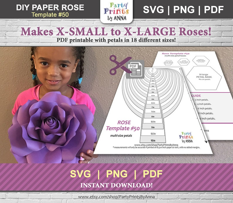 picture regarding Etsy Printable identified as Paper Flower Template, SVG and Printable PDF - paper Rose Template,Do-it-yourself Paper Rose Template,large paper bouquets,hand lower or device slash information