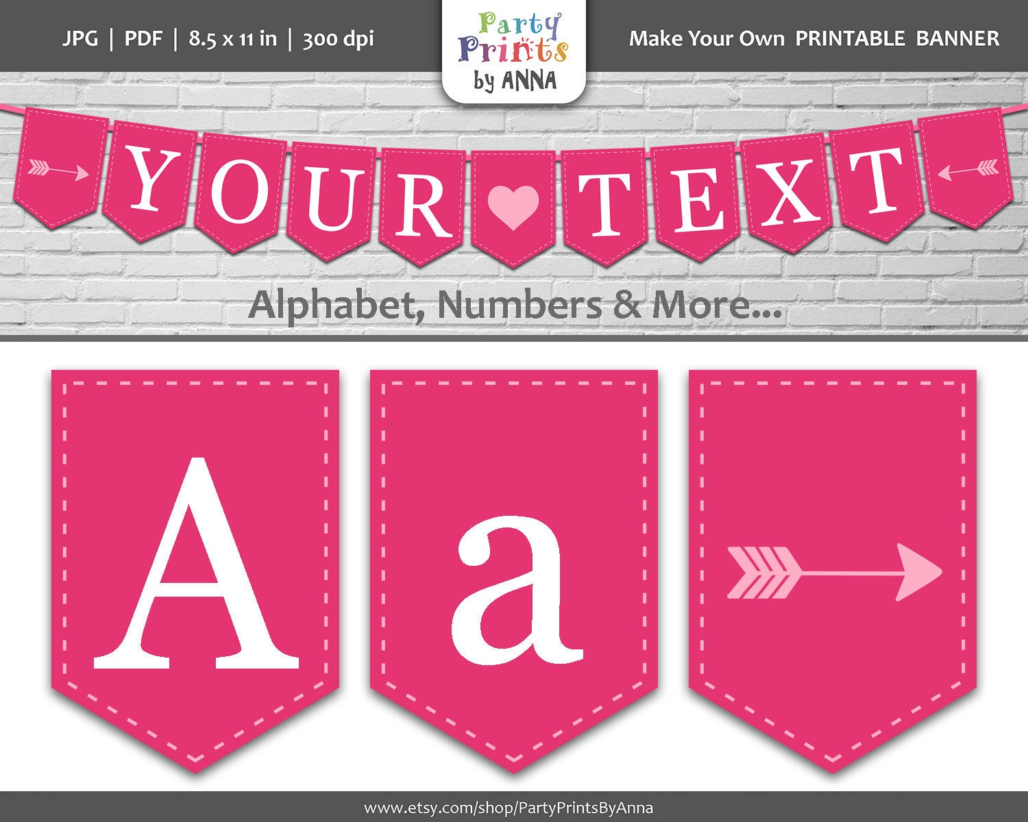Pink printable bunting banner alphabet letters spearhead banner bunting pennant flag bannerhot pink a z letters numbers party printable