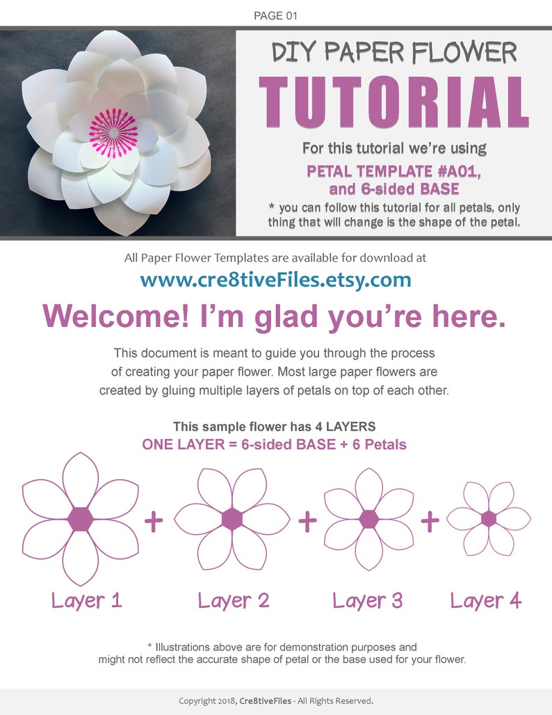 image about Large Flower Petal Template Printable identify 50 PDF PRINTABLE Paper Flower PETAL Templates, do it yourself heavy Paper Flower Templates, molde de flores de papel / print-slash-hint flower templates