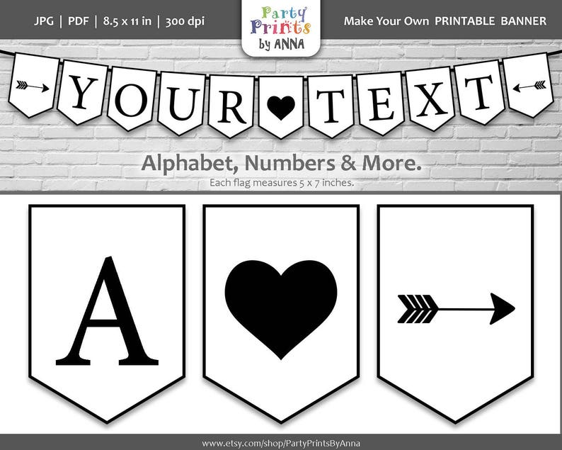 picture about Printable Flag Banner named Printable Flag Banner, A-Z Letters Quantities, Bunting Pennant Banner, Black upon White Alphabet Letter Printable, Spearhead Banner, image prop