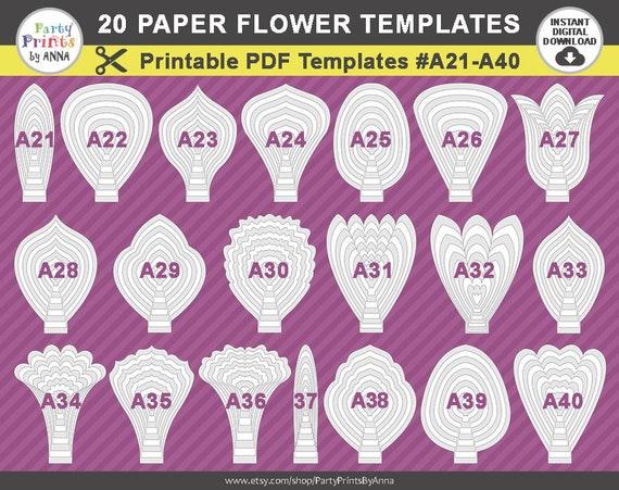 20 Printable Pdf Paper Flower Templates Petal Templates Etsy