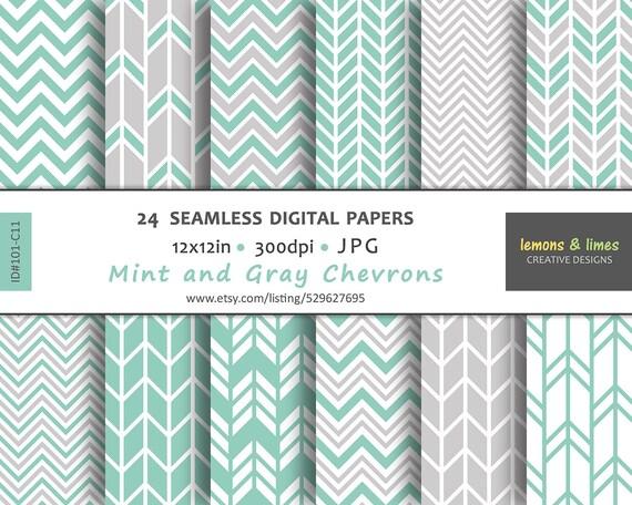 Mint Green Chevron Digital Paper Jpg 300dpi 12x12in Etsy