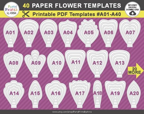 40 Pdf Paper Flower Templates 40 Printable Pdf Templates Etsy