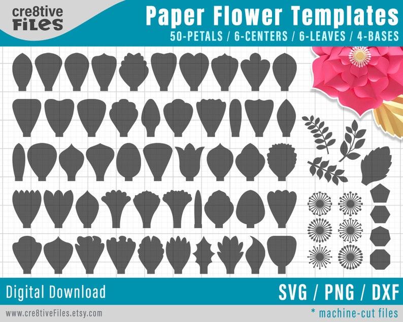 SVG Paper Flower TEMPLATES SET of 50 Petals 4 Bases 6 image 0
