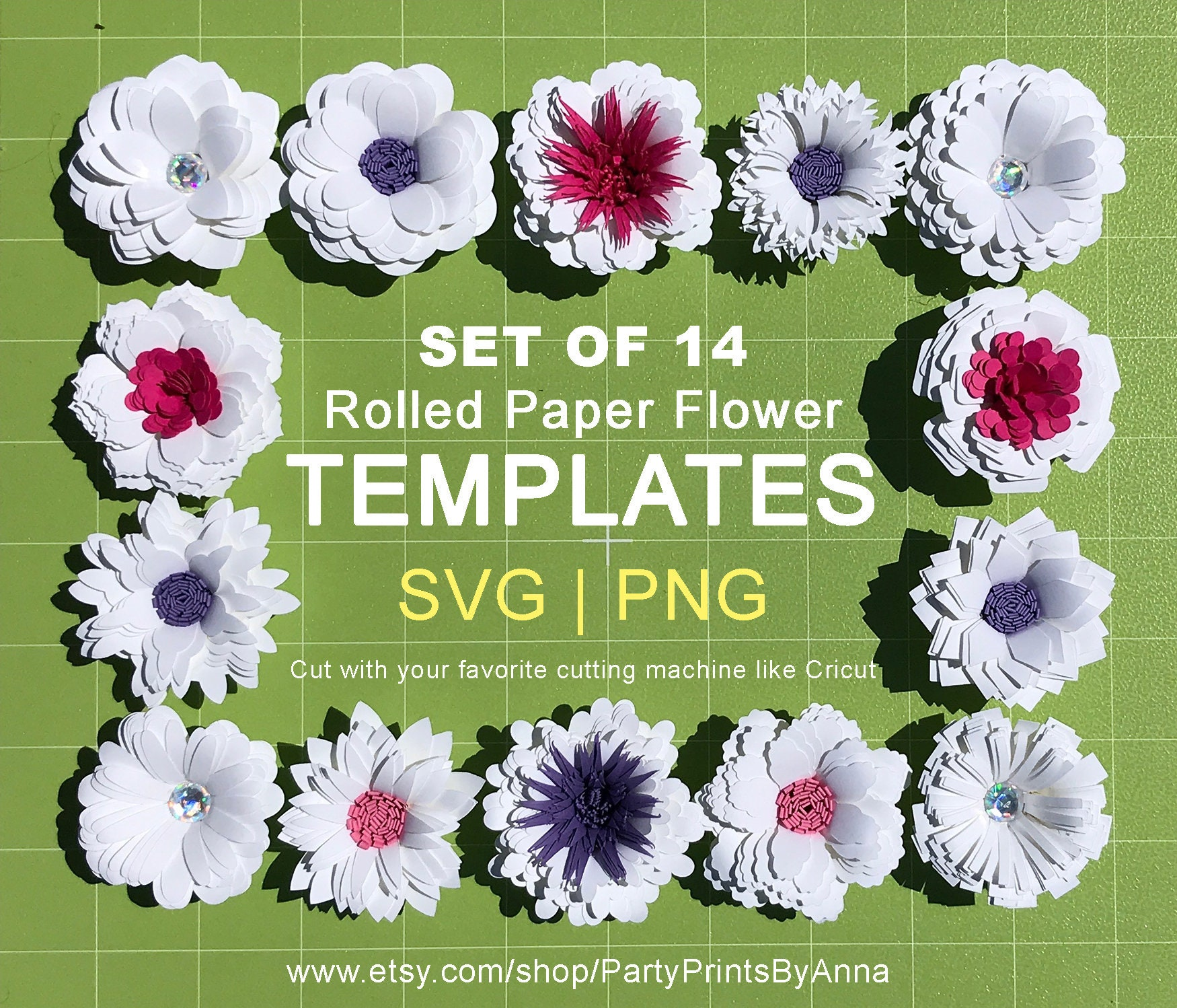 14 Small Rolled Svg Paper Flower Templates2 Inch Rolled Paper Etsy