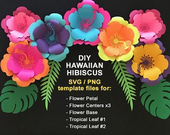 svg Paper Flower Hibiscus Template, TROPICAL SET:Hawaiian Flower,3 Centers,2 Tropical leaves, base. DIY Tropical Flowers, cricut, silhouette