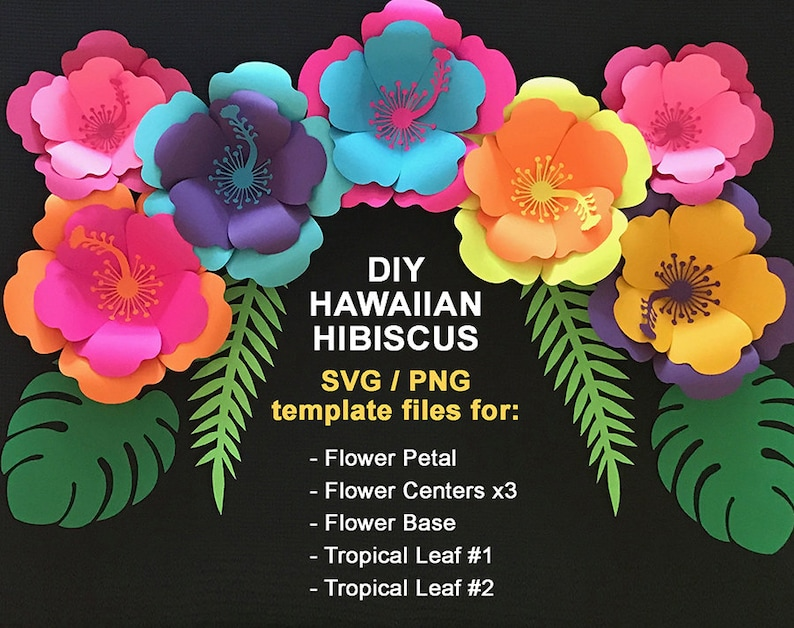 Svg Paper Flower Hibiscus Template Tropical Sethawaiian Etsy