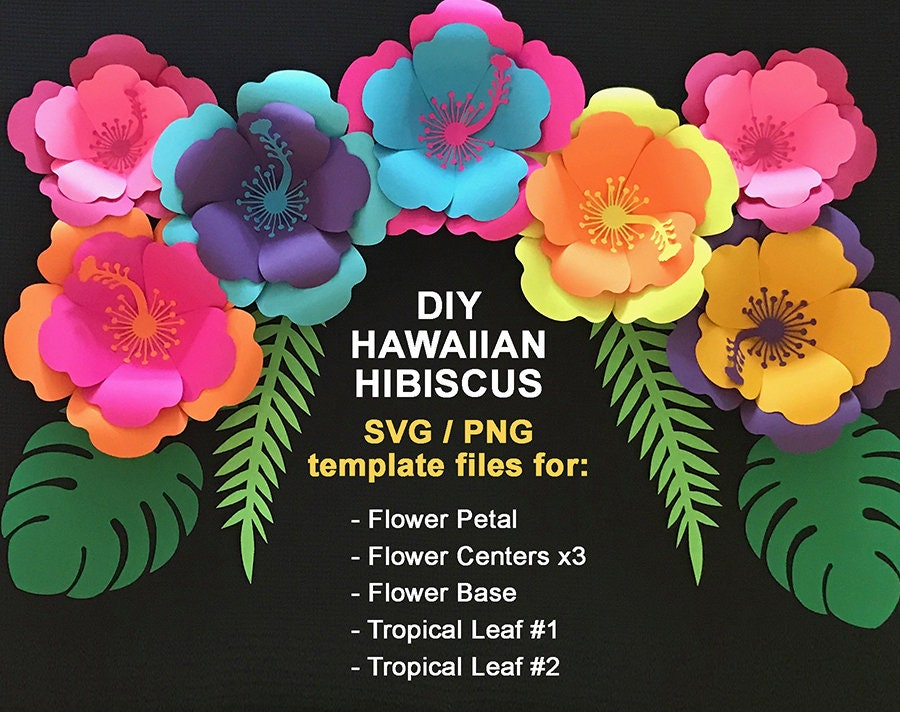 svg paper flower hibiscus template tropical set hawaiian