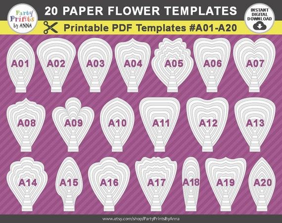 Printable Pdf Paper Flower Templates Set Of 20 Printable Etsy