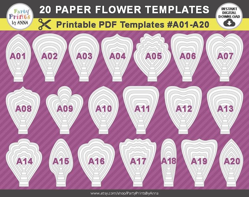 Printable Pdf Paper Flower Templates Set Of 20 Printable Templates A01 A20 Diy Giant Large Paper Flower Petals Molde De Flores De Papel