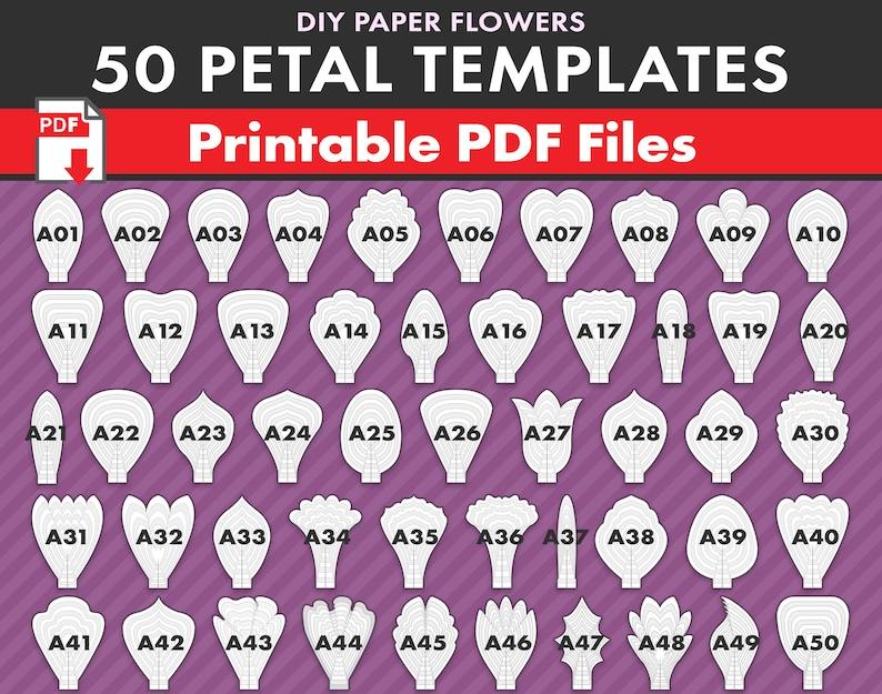 graphic relating to Printable Paper Flower Templates called 50 PDF PRINTABLE Paper Flower PETAL Templates, do it yourself high Paper Flower Templates, molde de flores de papel / print-minimize-hint flower templates