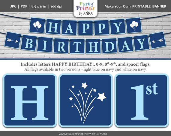 navy blue printable happy birthday banner square printable etsy