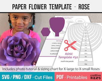 Paper Flower Template, SVG and Printable PDF - paper Rose Template,DIY Paper Rose Template,giant paper flowers,hand cut or machine cut files