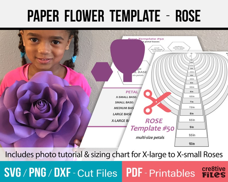Paper Flower Template SVG and Printable PDF  paper Rose image 0