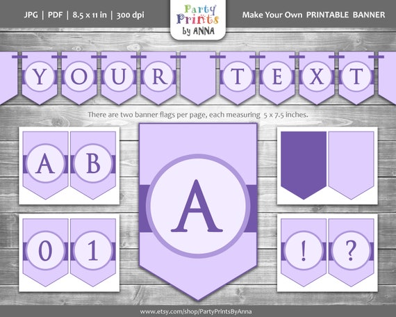 purple party banner printable customizable a z letters etsy