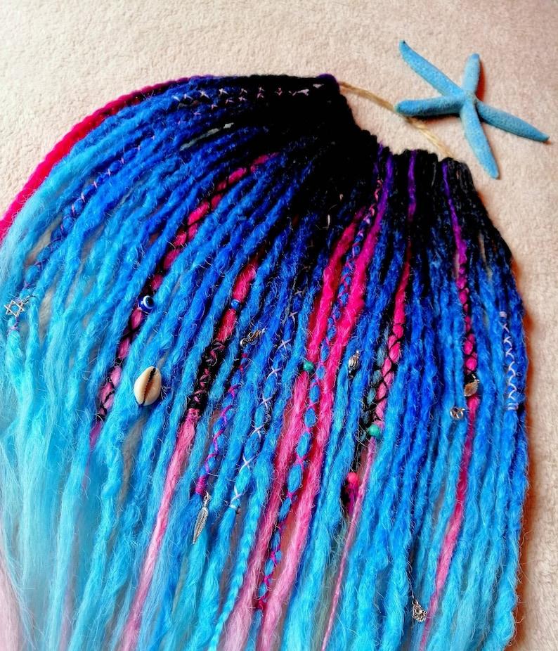 Synthetic blue dreadlocks extensions Mermaid dreadlocks, Festival dreadlocks Blue Cyberdreads Dreadlocks decorations