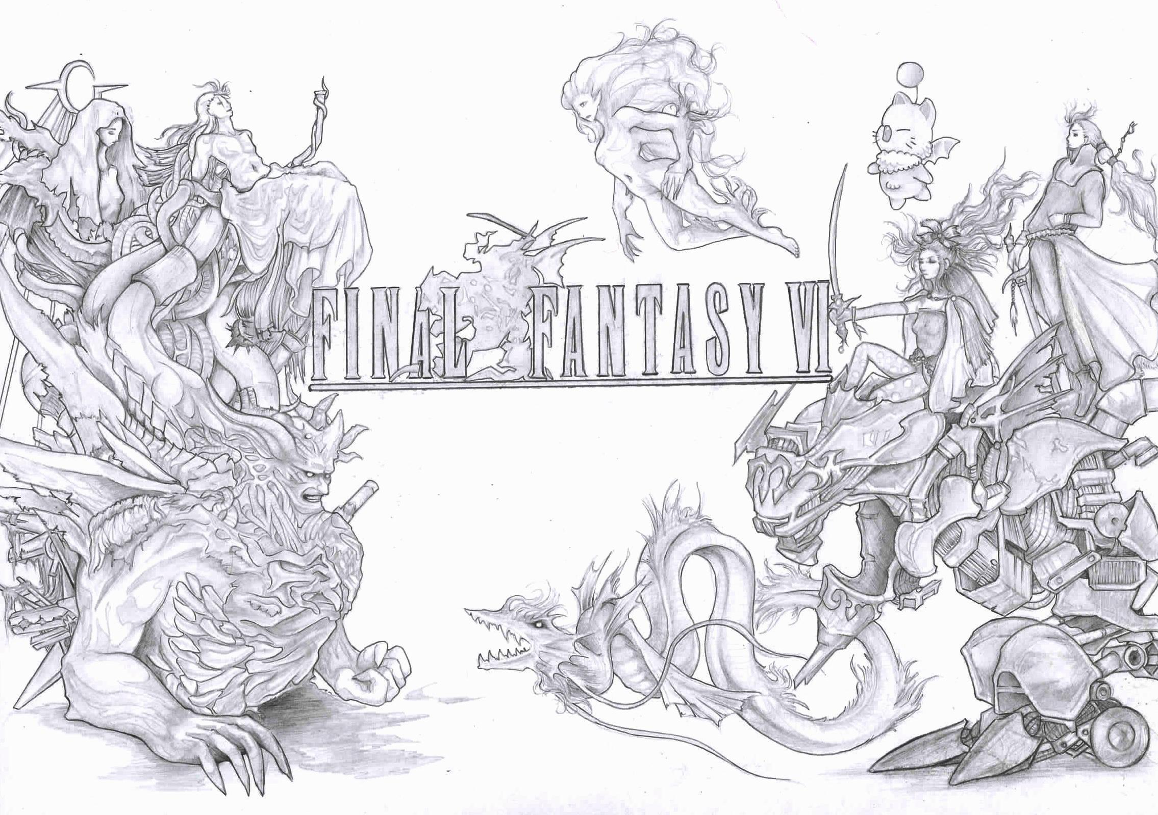 Endgültige Fantasy VI 6 Fanart schwarz und weiß | Etsy
