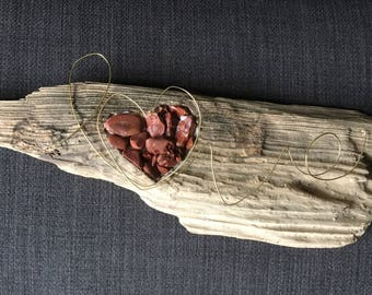 Driftwood and Wire LOVE hanging decoration